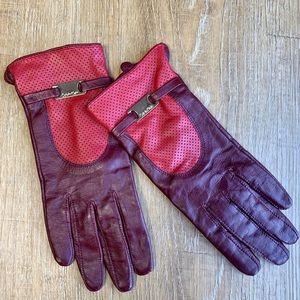 Calvin Klein Red Burgundy Leather Gloves